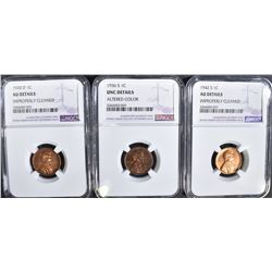 3 NGC GRADED LINCOLN CENTS:
