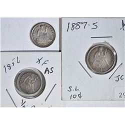 3 COIN LOT:  1853 ARROWS SEATED HALF DIME AU,