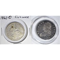 2 HALF DOLLARS:  1819 CAPPED BUST FINE &