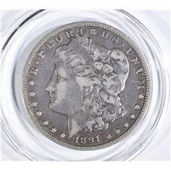1891-CC MORGAN DOLLAR  F-VF