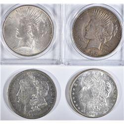 4 SILVER DOLLARS:  1921-D MORGAN AU,
