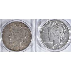 2 PEACE DOLLARS:  1934-S VF &