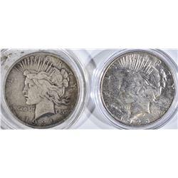 2 PEACE DOLLARS:  1928-S AU &