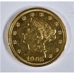 1905 $2 1/2 GOLD LIBERTY  CH BU PL