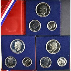 3-1976 PROOF 40% SILVER 3-PIECE COIN SETS