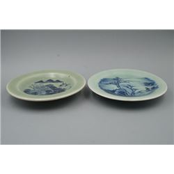 """A Pair of Blue-and-White """"Landscape and Figure"""" Plates."""