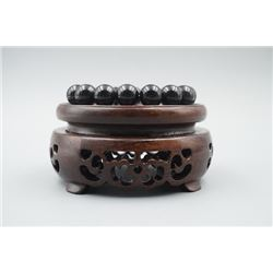 An Obsidian Bead Bracelet with 12mm Beads.