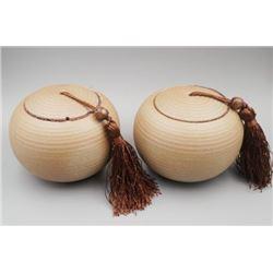 A Pair of Ceramic Tea Caddy.