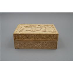 An Early 20th Century Wood Carved White Lacquer Box.