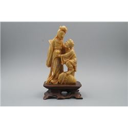 """A Soapstone Carved """"Figures"""" Decoration."""