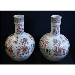 A pair of famille-rose large vases (Tian Qiuping).