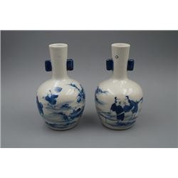 "A Pair of Small Blue-and-White ""Figure"" Vase with Two Ears."