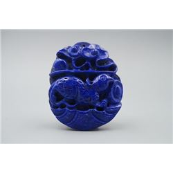 "A Lapis Lazuli ""Auspicious Beast"" Pendant."