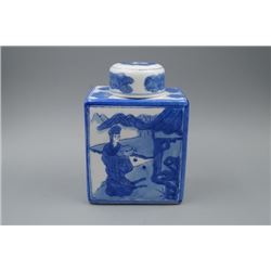 "A Blue-and-White ""Landscape and Figure"" Square Vase and Cover."
