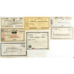 Eight California Non-Mining Stock Certificates