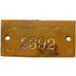 U.S. Assay Office S.F. Brass Plate