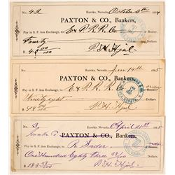 Three Paxton & Company Bank checks to the E&P RR and Governor Sadler