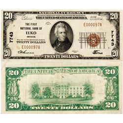 Elko, Nevada - $20, 1929 Type 1, The First National Bank Of, Charter 7743. Fr. 1802-1