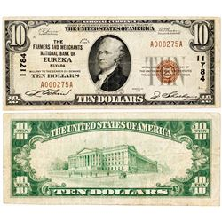 Eureka, Nevada - $10, 1929 Type 1, The Farmers And Merchants National Bank Of, Charter 11784. Fr. 1