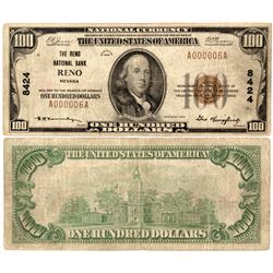 Reno, Nevada - $100, 1929 Type 1, The Reno National Bank, Charter 8424 (Second Title). Fr. 1804-1