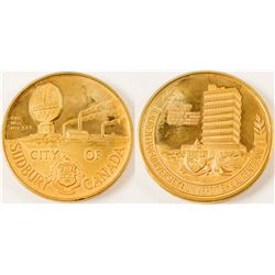 City of Sudbury Gold Plated Medal