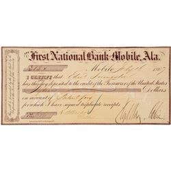United States Official Deposit for Land Patent, Mobile, Alabama