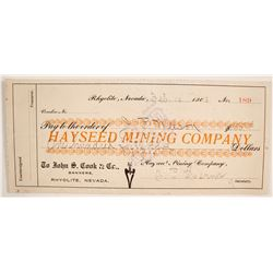 Hayseed Mining Company Check