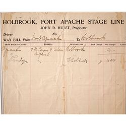 Holbrook, Ft. Apache Stage Line Way Bill, 1905