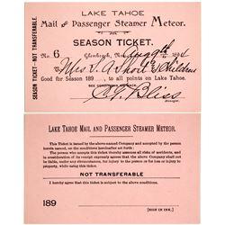 """1894 Steamer """"Meteor"""" Pass, Lake Tahoe"""