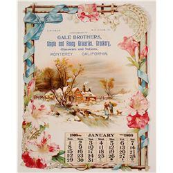 Die Cut 1899 Calendar, Monterey, CA