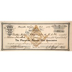 Placerville Masonic Hall Association Stock Certificate, 1897