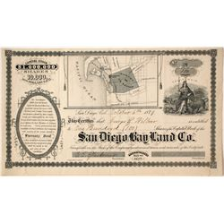 San Diego Bay Land Company Stock - 1879