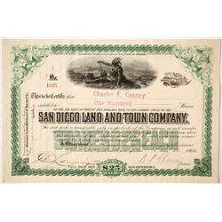 San Diego Land and Town Company Green Stock