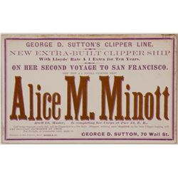 Clipper Card for the Alice M. Minott with Howes, Master