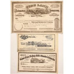 Three San Francisco Area Stock Certificates
