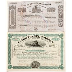 California Bond for the Indian War Indebtedness, 1852, $100
