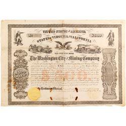 Extremely Rare Washington City and Mining Co Bond