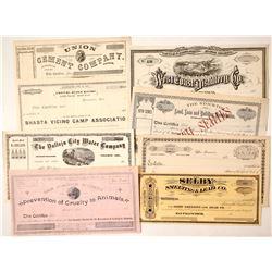 Seven Non-mining Stock Certificates