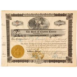 Bank of Clayton County Stock Certificate