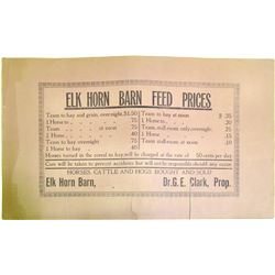 Elk Horn Barn Feed Original Broadside