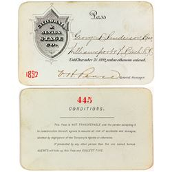 1892 California & Nevada Stage Company Pass