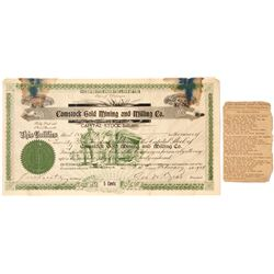 Stock Cert. Comstock Gold Mining and Milling Co.