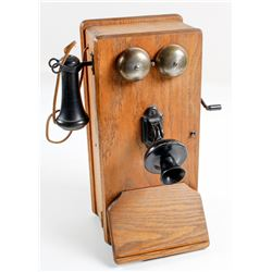 Vintage Oak Crank Telephone