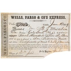 Printed Columbia Wells Fargo Receipt for Gold Dust