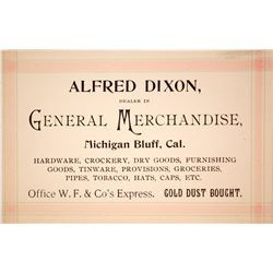 Alfred Dixon, Wells Fargo Office and Gold Dust Dealer Business Card