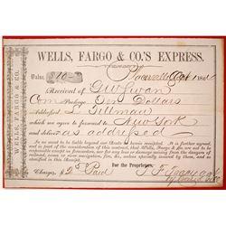 Wells Fargo Placerville Shipping Receipt, 1864