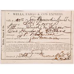 Extra Rare Wells Fargo Receipt from San Bernardino to San Francisco