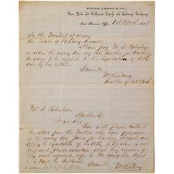 1858 Wells Fargo Letterhead about Estate Liquidation