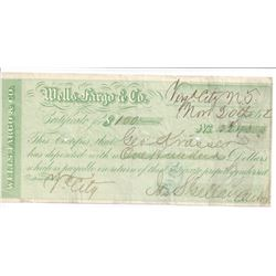 Virginia City, Wells Fargo Territorial Certificate of Deposit