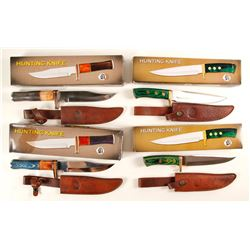 group of Four Chipaway huning Knives